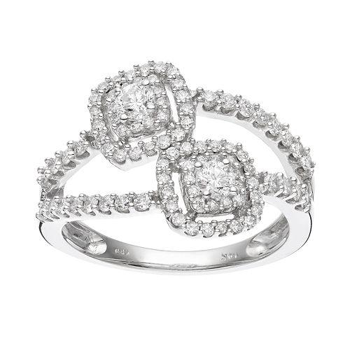 14k White Gold 3/4 Carat T.W. Diamond Double Square Frame Ring