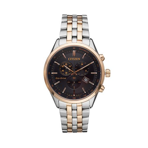 Citizen Eco-Drive Men's Two Tone Stainless Steel Chronograph Watch - AT2146-59E
