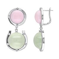 Pink Opal, Prehnite & 1/10 Carat T.W. Diamond Sterling Silver Horseshoe Drop Earrings