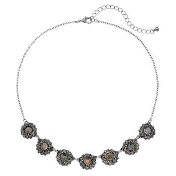 Antiqued Round Halo Necklace