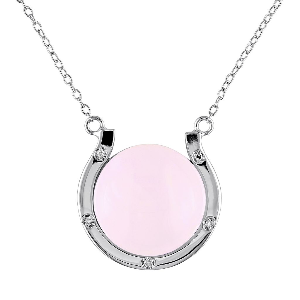 Pink Opal & Diamond Accent Sterling Silver Horseshoe Necklace