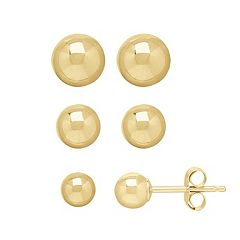 Everlasting Gold 14k Gold Ball Stud Earring Set