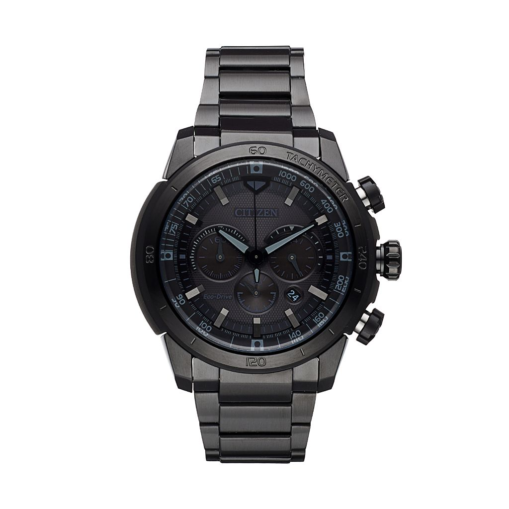 Citizen Eco-Drive Men's Ecosphere Black Ion-Plated Stainless Steel Chronograph Watch - CA4184-81E