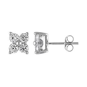 Lab-Created White Sapphire 10k White Gold Cluster Stud Earrings