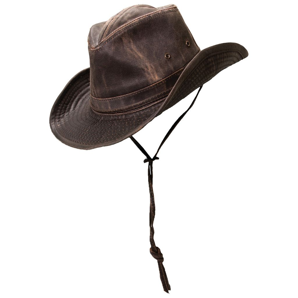 Men's Brown Weathered-Leather Outback Safari Hat