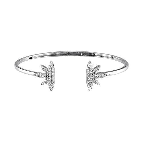 Stella Grace Lab-Created White Sapphire Sterling Silver Leaf Cuff Bracelet