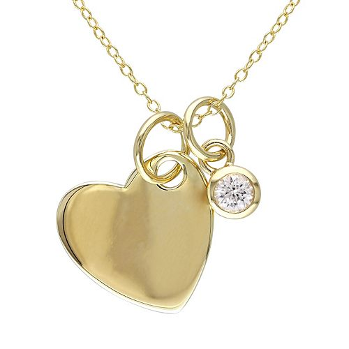 Lab-Created White Sapphire Yellow Rhodium-Plated Sterling Silver Heart Pendant Necklace