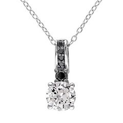 Lab-Created White Sapphire & 1/8 Carat T.W. Black Diamond Sterling Silver Pendant Necklace