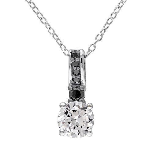 Lab-Created White Sapphire & 1/8 Carat T.W. Black Diamond Sterling Silver Pendant Necklace