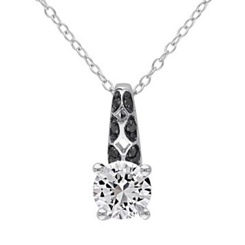 Lab-Created White Sapphire & 1/6 Carat T.W. Black Diamond Sterling Silver Pendant Necklace