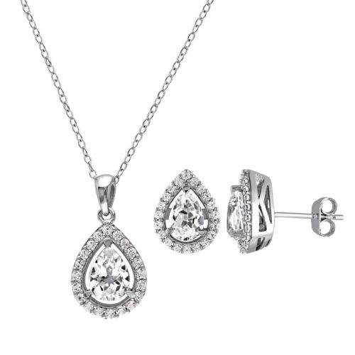 Lab-Created White Sapphire Sterling Silver Teardrop Halo Pendant Necklace & Stud Earring Set