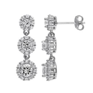 Lab-Created White Sapphire Sterling Silver Flower Drop Earrings
