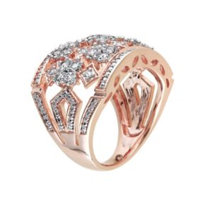 Stella Grace Lab-Created White Sapphire Pink Rhodium-Plated Sterling Silver Ring