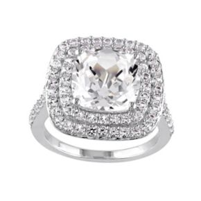 Stella Grace Lab-Created White Sapphire Sterling Silver Cushion Halo Ring