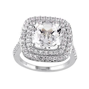 Lab-Created White Sapphire Sterling Silver Cushion Halo Ring