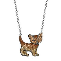 Animal Planet Sterling Silver Crystal Cat Necklace