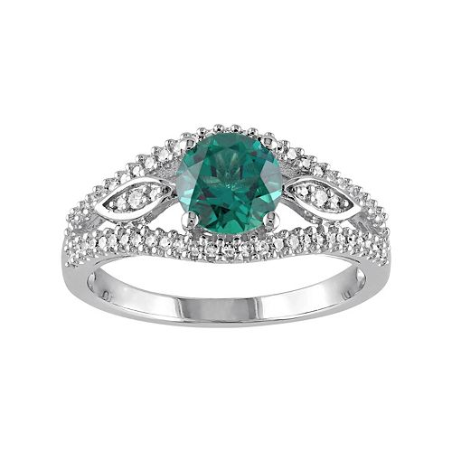 Lab-Created Emerald & 1/4 Carat T.W. Diamond Engagement Ring in 10k White Gold