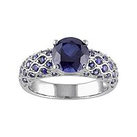 Lab-Created Sapphire 10k White Gold Scalloped Ring