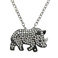 Animal Planet Sterling Silver Crystal Rhinoceros Pendant