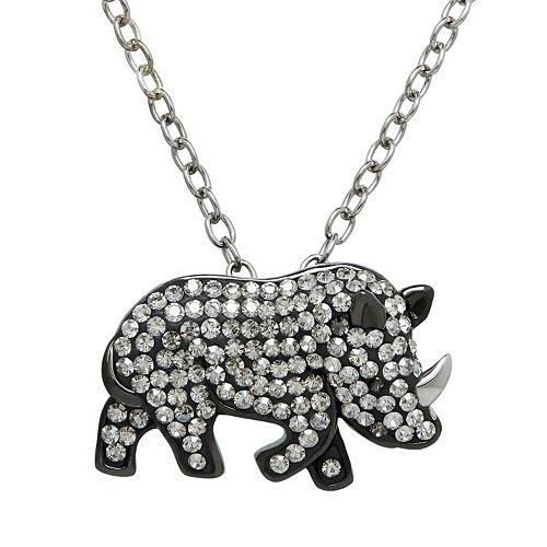 Animal Planet Sterling Silver Crystal Rhinoceros Pendant