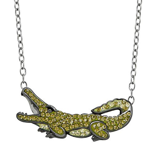 Animal Planet Sterling Silver Crystal Nile Crocodile Necklace