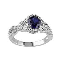 Lab-Created Blue & White Sapphire Sterling Silver Twist Ring