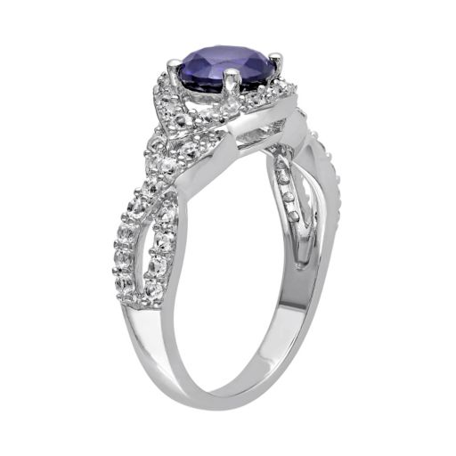 Stella Grace Lab-Created Blue & White Sapphire Sterling Silver Twist Ring