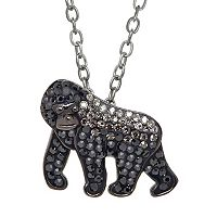 Animal Planet Sterling Silver Crystal Silverback Gorilla Pendant