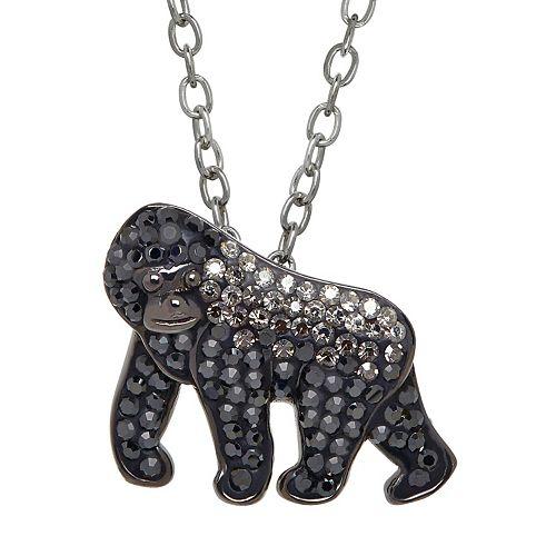 Animal Planet Sterling Silver Crystal Silverback Gorilla Pendant