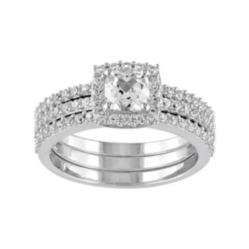 Stella Grace Sterling Silver Lab-Created White Sapphire Halo Engagement Ring Set