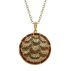 Animal Planet 18k Gold Over Silver Crystal Turtle Disc Pendant