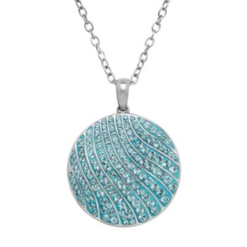 Animal Planet Sterling Silver Crystal Blue Whale Disc Pendant