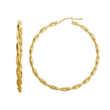14k Gold Twist Hoop Earrings