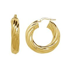 14k Gold Twist Hoop Earrings