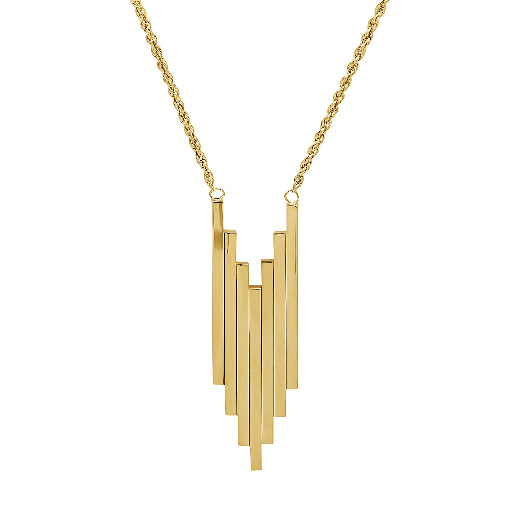 14k Gold Staggered Stick Necklace