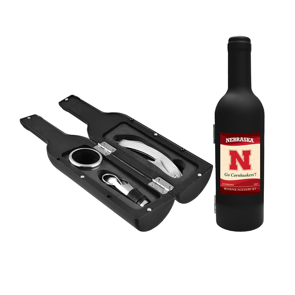 Nebraska Cornhuskers 3-Piece Wine Bottle Accessory Kit