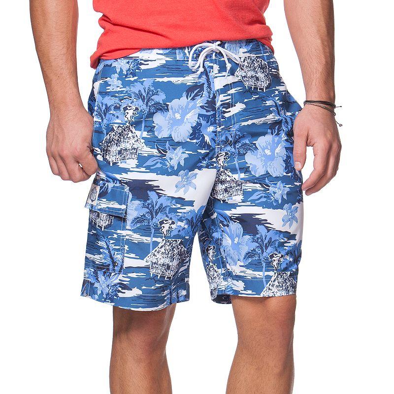 Big & Tall Chaps Tiki Hut Print Board Shorts