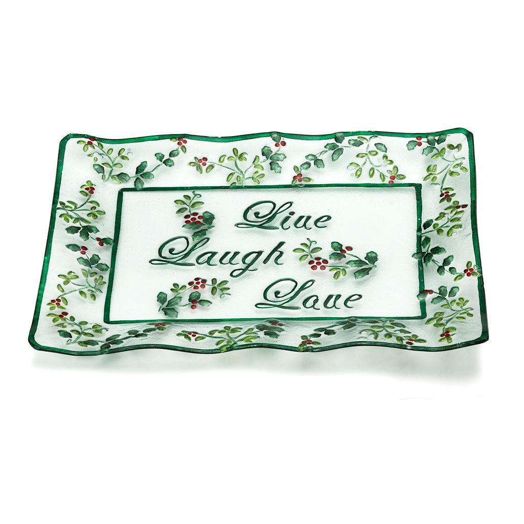 Pfaltzgraff Winterberry ''Live Laugh Love'' Glass Platter