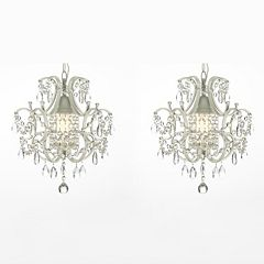 Gallery 2-piece Wrought Iron 1-Light Crystal Chandelier Set