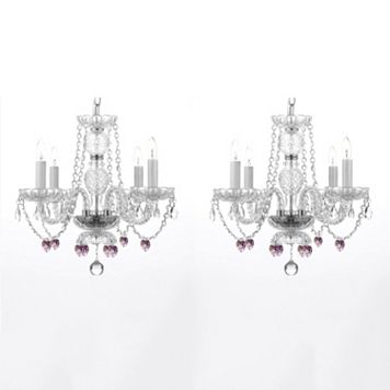 Gallery 2-piece Pink Crystal Hearts 4-Light Chandelier Set