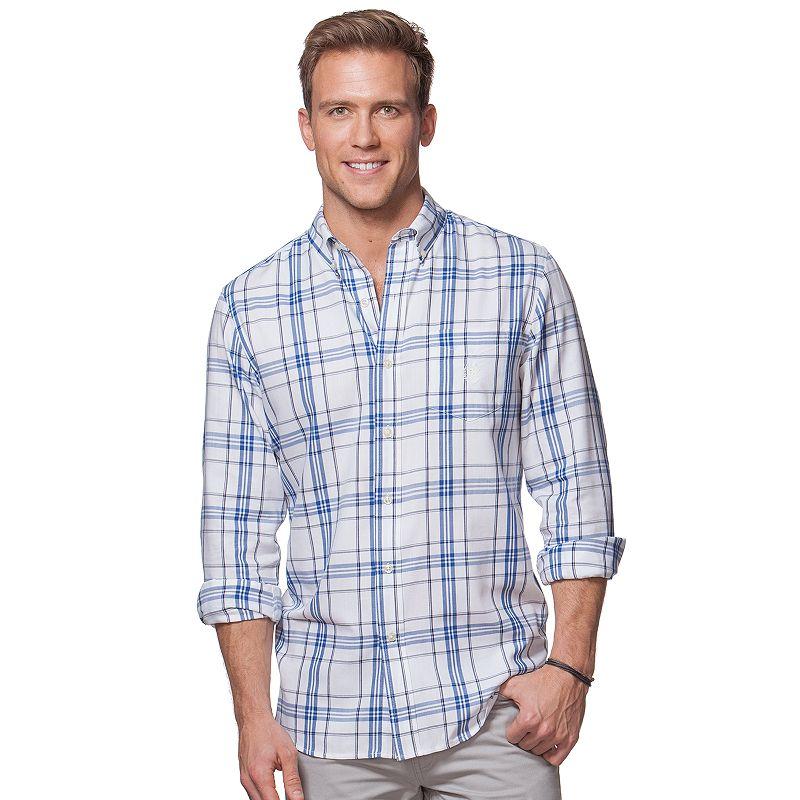 Big & Tall Chaps Tattersall Plaid Button-Down Shirt