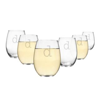 Cathy's Concepts 6-pc. Monogram Stemless Wine Glass Set