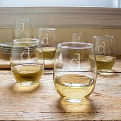 Cathy's Concepts 6 pc Monogram Stemless Wine Glass Set