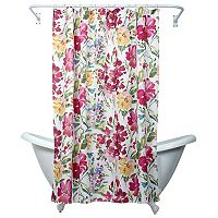Zenna Home Watercolor Floral Fabric Shower Curtain