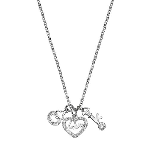 18k White Gold-Plated Cubic Zirconia Heart Lock & Key Charm Pendant Necklace