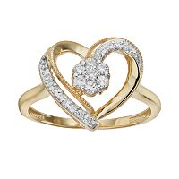 1/4 Carat T.W. Diamond 10k Gold Heart Ring