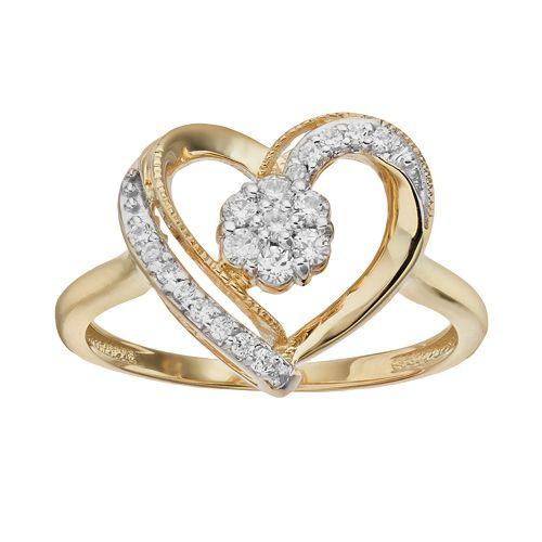1/4 Carat T.W. Diamond 10k Gold Heart Ring