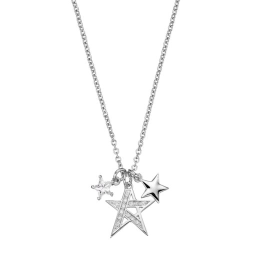 18k White Gold-Plated Cubic Zirconia Star Charm Pendant Necklace