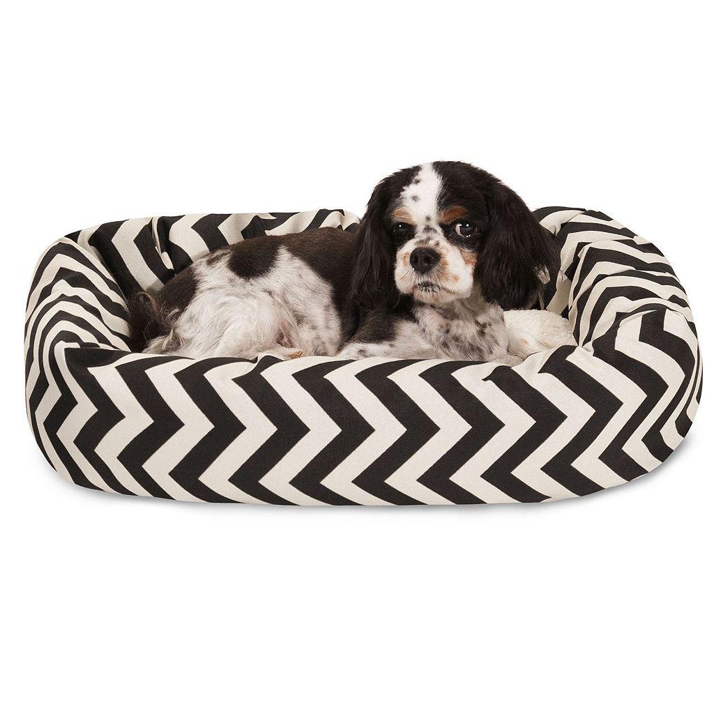 Majestic Pet Chevron Sherpa Indoor Outdoor Bagel Dog Bed