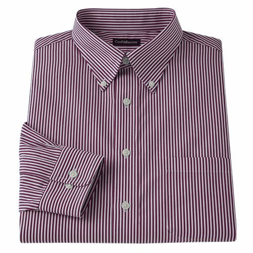 Men's Croft & Barrow Classic-Fit Patterned Easy-Care Button-Down-Collar Dress Shirt